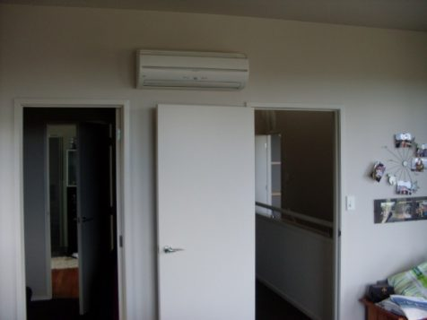 Heat pump in a living room